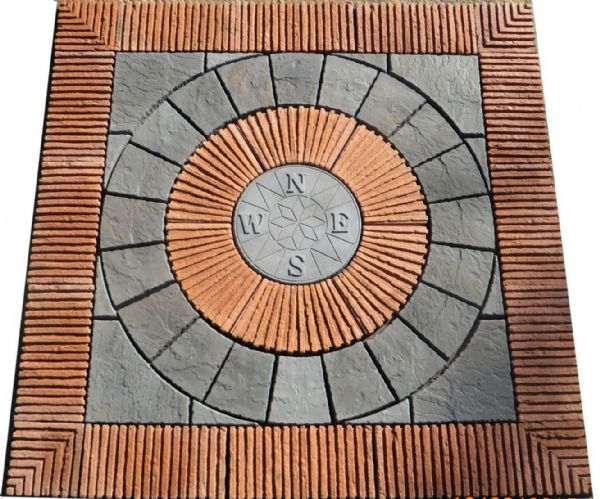 2400mm Rotunda Compass Slate Grey Plus Terracotta Tile Inset And Surround.